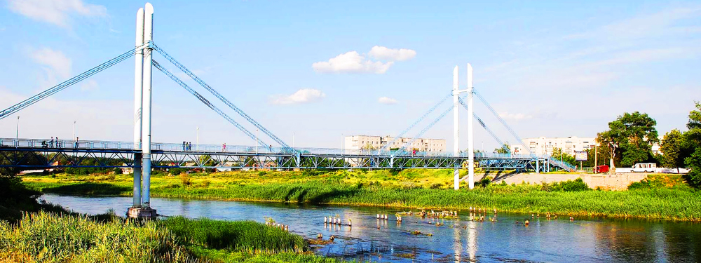 Construction of bridge crossing over Severski Donets river in Izium (Kharkov region)